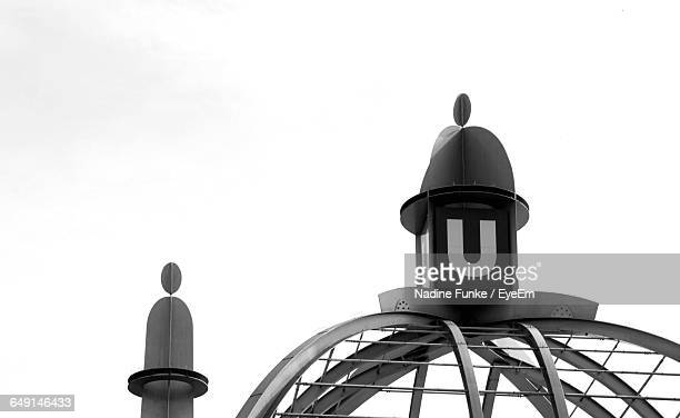 high section of lighthouse against clear sky - letter u stock photos and pictures