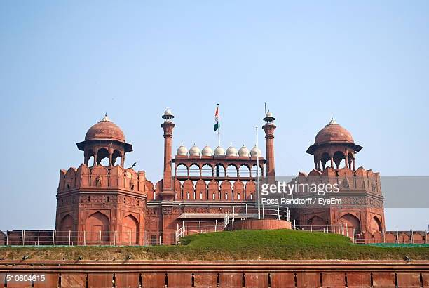 High section of red fort against clear sky