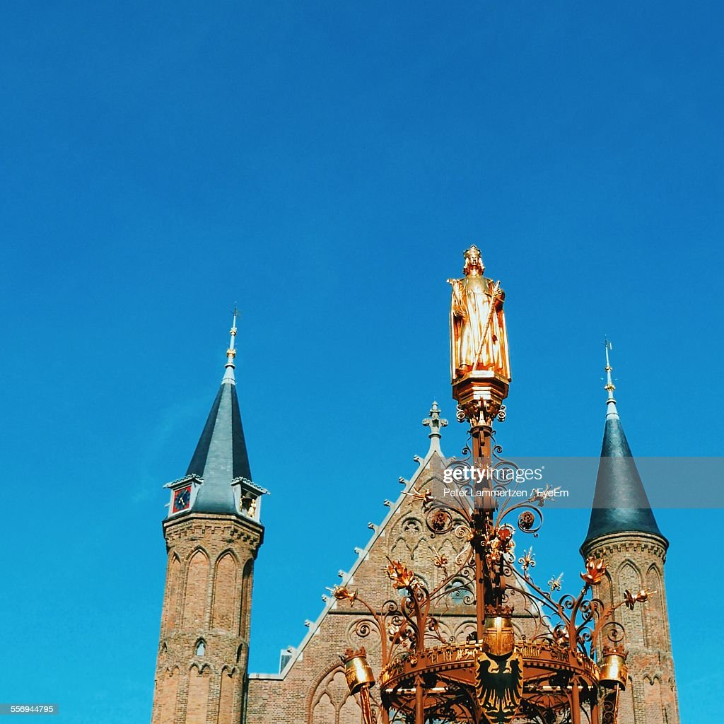 High Section Of Ridderzaal Against Clear Blue Sky : Stock Photo