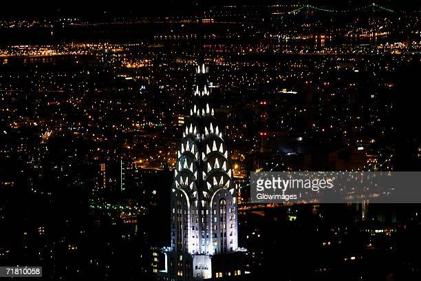 High section view of a building lit up at night, Chrysler Building, New York City, New York State, USA