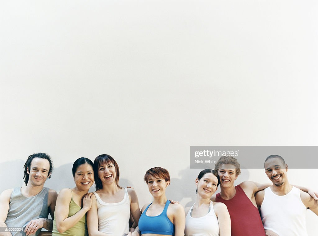 High Section View of a Line of Male and Female Dancers : Stock Photo