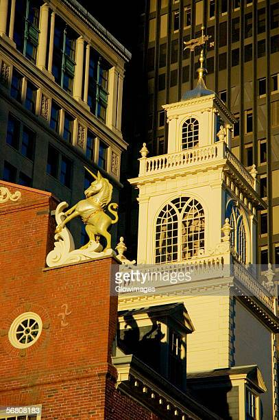 High section view of buildings in a city, Old State House, Boston, Massachusetts, USA