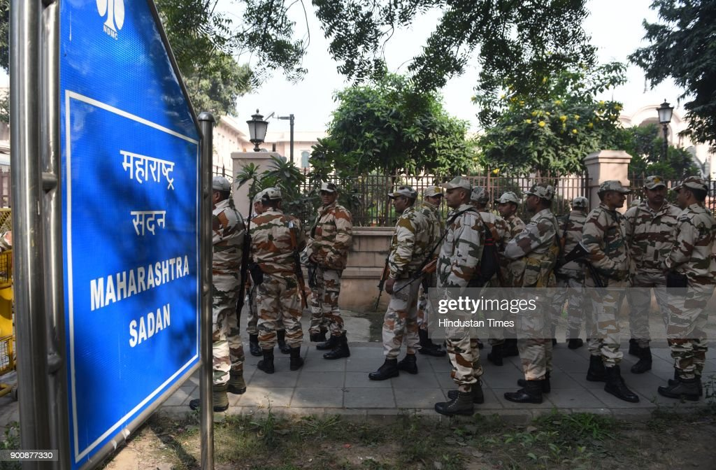 High security in front of Maharashtra Sadan in view of recent violence against dalits in Mahararshtra on January 3, 2018 in New Delhi, India.