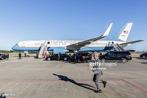 High security is seen as US VicePresident Joe Biden arrives at Sydney Airport on July 18 2016 in Sydney Australia Biden is visiting Australia on a...