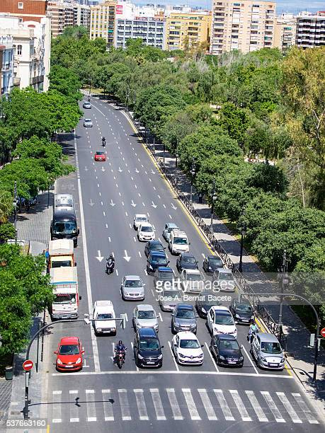 High sight of the rush hour in an avenue with I deal in the city of Valency, Spain