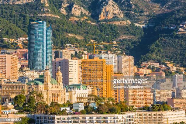 high skyscrapers of montecarlo, monaco, france - monaco stock pictures, royalty-free photos & images