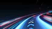 High speed abstract track of motion light for background