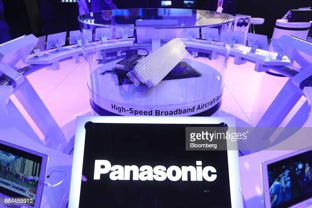 High speed broadband aircraft antenna sits on display in the Panasonic Avionics Corp. Pavilion at the 2017 Aircraft Interiors Expo in Hamburg,...