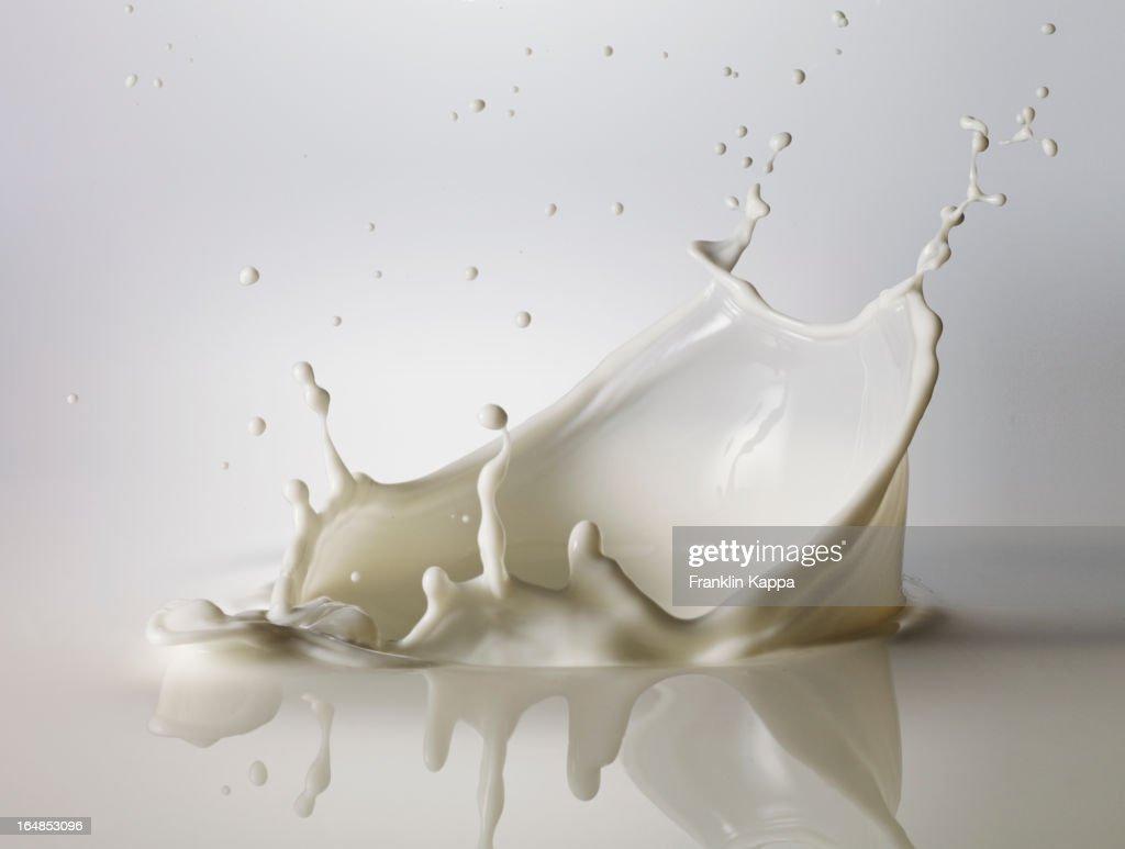 High speed image of splashing milk : Stock Photo