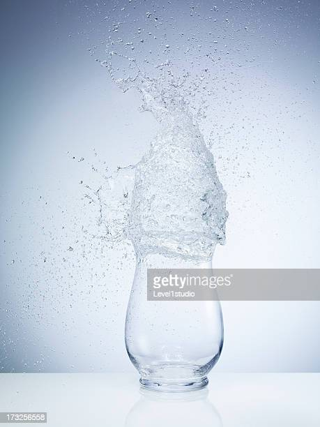High speed image of water exploding on the vase