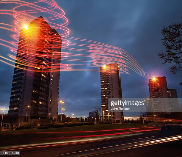 high speed light trails and buildings