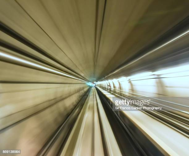 High speed motion inside a metro tunnel as seen from a driverless train in Europe
