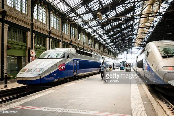 high speed tgv trains parked at gare de lyon station - ogphoto stock pictures, royalty-free photos & images