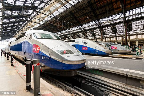 High speed TGV trains parked at Gare de Lyon Station