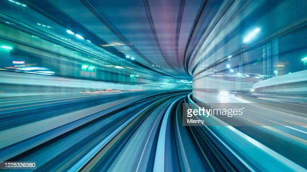 high speed train abstract panorama tokyo japan - the way forward stock pictures, royalty-free photos & images