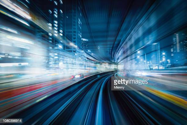 high speed train abstract tokyo japan - monorail stock pictures, royalty-free photos & images