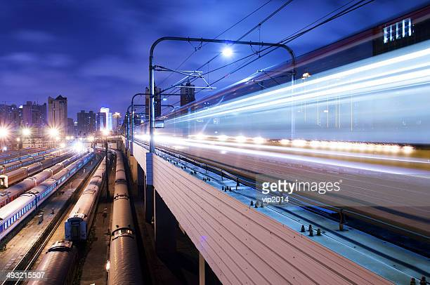 High speed train at night.