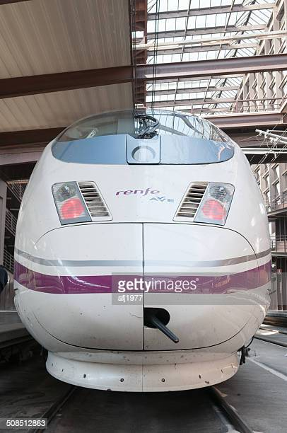 high speed train ave atocha station madrid spain - alta velocidad espanola stock pictures, royalty-free photos & images