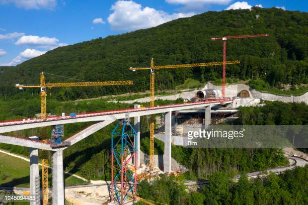 high speed train bridge under construction, aerial view - rail transportation stock pictures, royalty-free photos & images