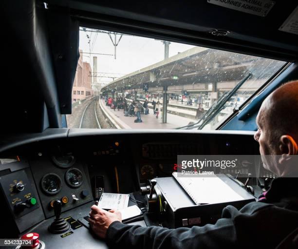High Speed train driver in TGV cockpit
