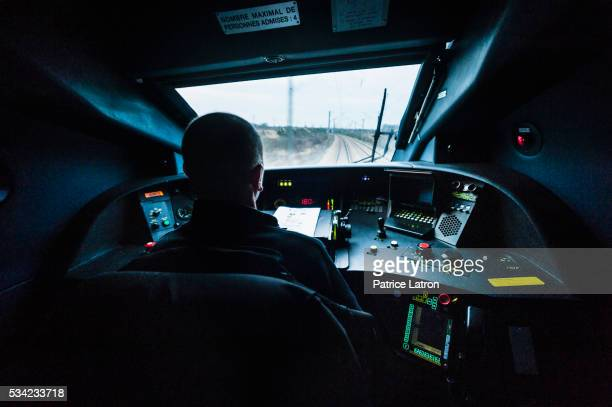 High Speed train driver in TGV cockpit