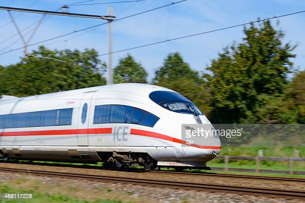 ice high speed train driving fast - germany stock pictures, royalty-free photos & images