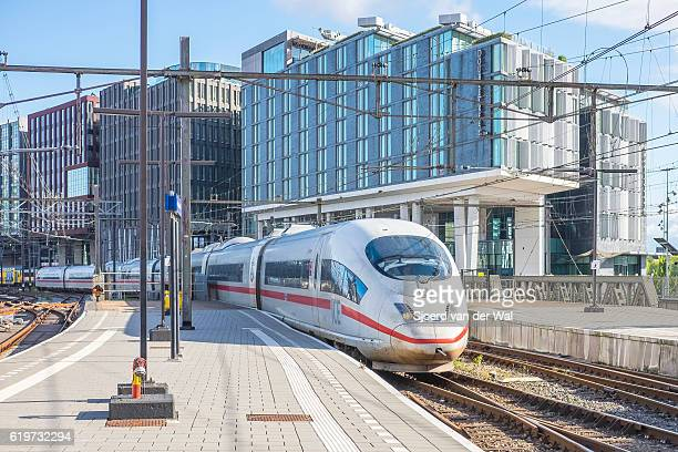 "high speed train ice -intercity express- arriving in amsterdam - ""sjoerd van der wal"" stock pictures, royalty-free photos & images"