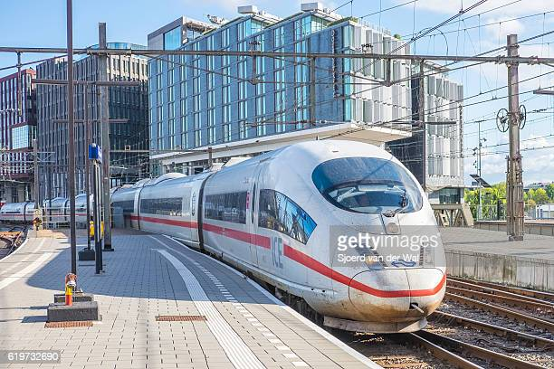 """high speed train ice -intercity express- arriving in amsterdam - """"sjoerd van der wal"""" stock pictures, royalty-free photos & images"""