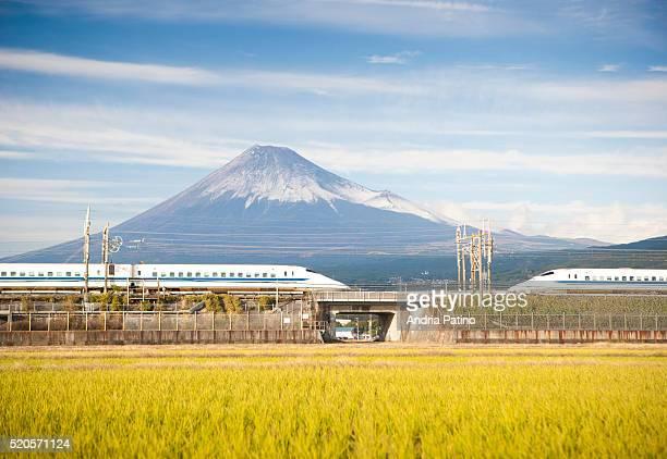 High speed trains crossing between rice field and Mount Fuji, Honshu, Japan