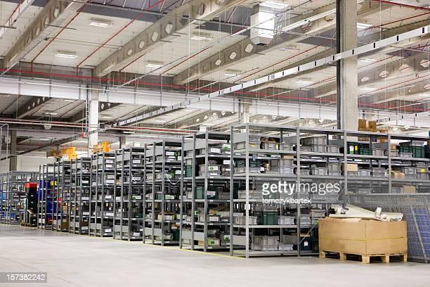 High storage racks in large warehouse