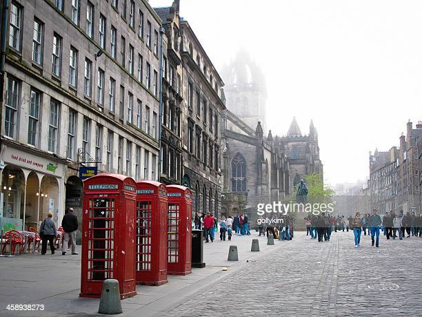 High Street and St Giles Cathedral in Edinburgh, Scotland