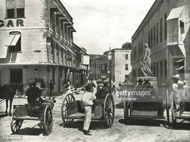 High Street Bridgetown Barbados 1895 Carts near the statue of Lord Nelson in the capital city of Barbados The sculpture erected in 1813 predates...