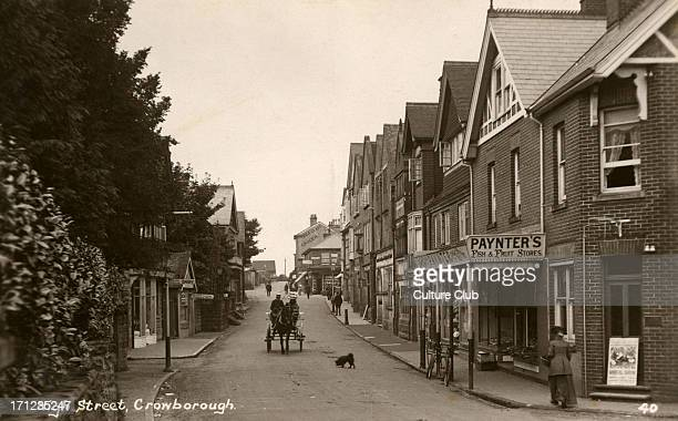High Street Crowborough in East Sussex England Early 1900s street scene with horse and cart Postcard