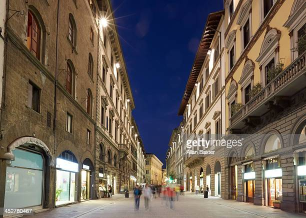 High street in Florence at night