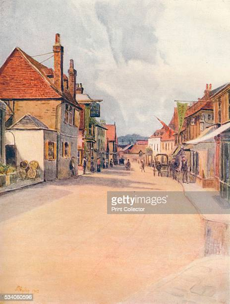 High Street Leatherhead' from 'A Pilgrimage In Surrey Vol 2' by James S Ogilvy 1914 Leatherhead Surrey appears in the Domesday Book of 1086 as Leret