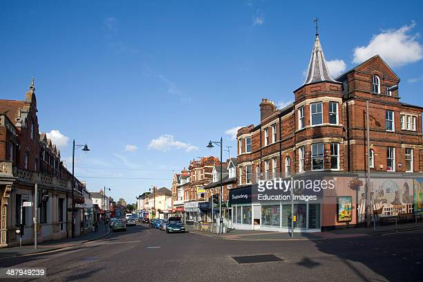 High Street shops in the town center of Dovercourt Harwich Essex England