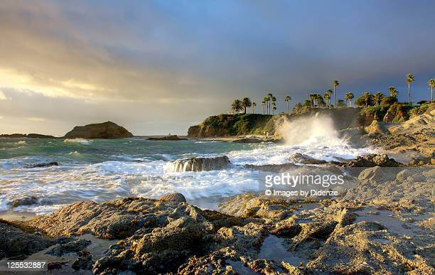 high surge in laguna beach during sunset - laguna beach california stock pictures, royalty-free photos & images