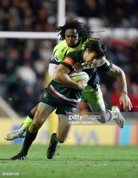 A high tackle from Marland Yarde of Sale Sharks on Matt Smith of Leicester Tigers resulted in Yarde receiving a yellow card during the Aviva...