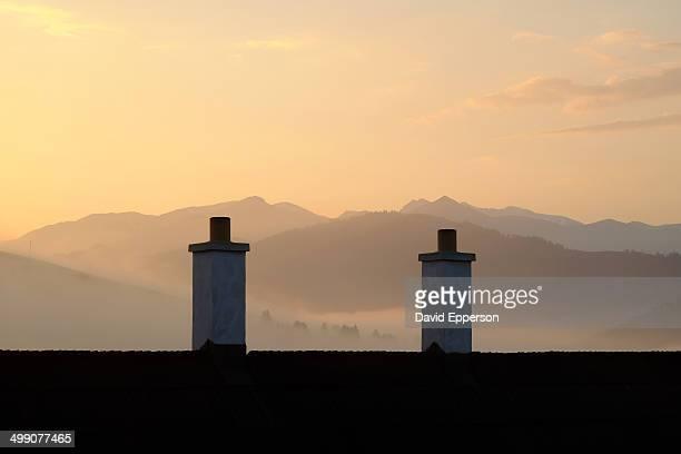 High Tatras of Slovakia over farmhouse