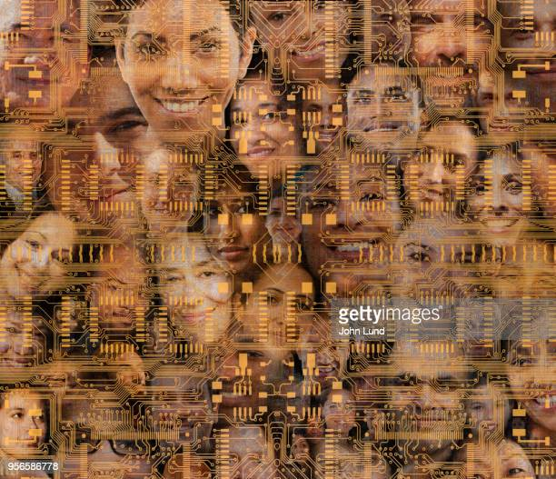 connected community faces is layered with