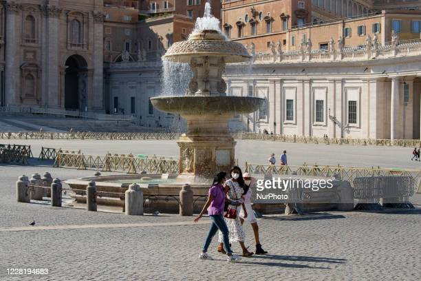 High temperatures and covid19 empty the streets of the center of Rome Italy on August 24 2020 Many checks for masks few tourists in the streets of...