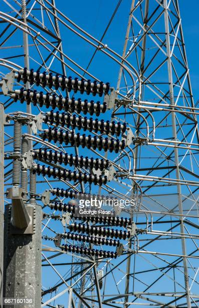 High tension electrical power lines at a transfer station along Highway 58 are viewed on March 28 near Buttonwillow California Oil and natural gas...