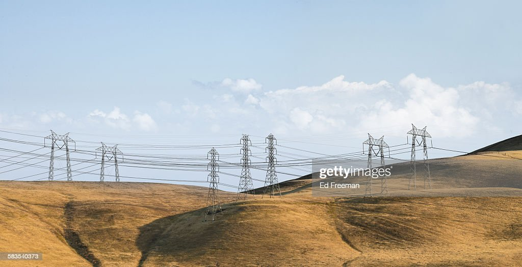 High Tension Power Lines : Stock Photo