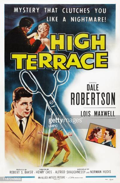 High Terrace, poster, US poster art, left: Dale Robertson; bottom right inset: Lois Maxwell, Dale Robertson, 1956.