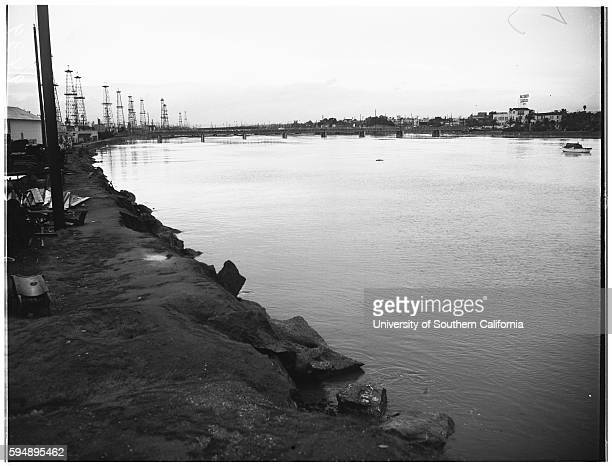 High tide flood Long Beach Harbor Howard Campbell 9 years Flooded Pico Street and Embarcadero Freighter 'Steel Apprentice' loading at Berth 1A with...