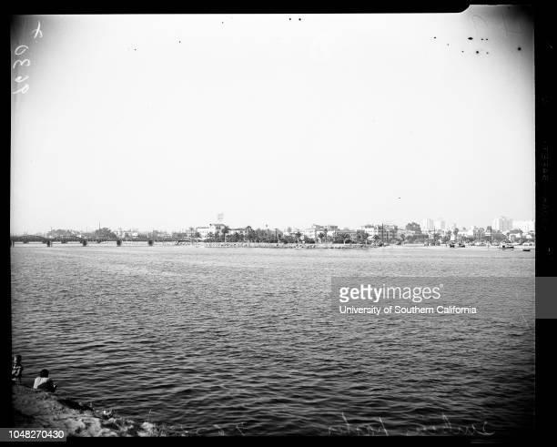 High tide versus Long Beach Harbor sinking, 5 July 1952. General views.;Caption slip reads: 'Photographer: Emery. Date: . Reporter: Emery, etc...