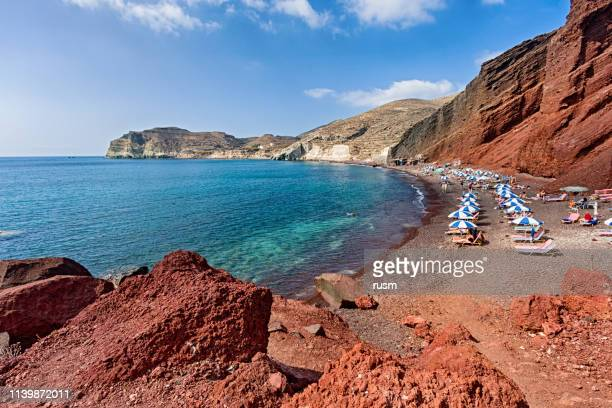 high up view of famous red beach, santorini, greece - santorini stock pictures, royalty-free photos & images