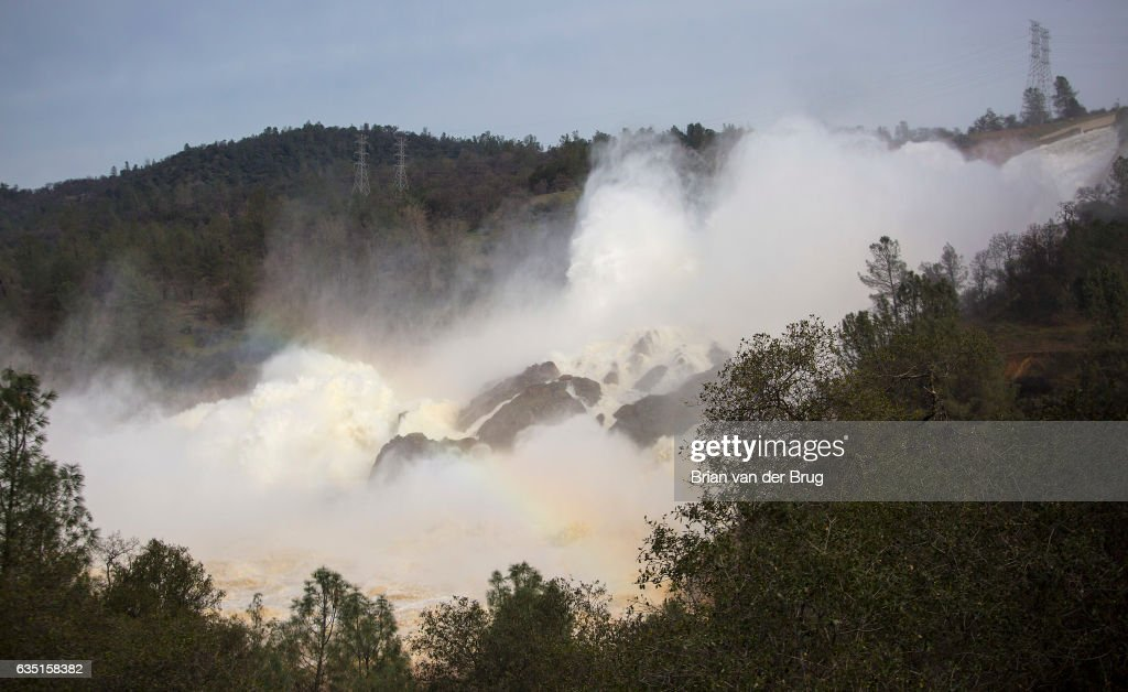 High velocity water from Lake Oroville flows out of the damaged primary spillway at 100,000 cubic feet per second in Oroville, Calif., on Feb. 13, 2017.