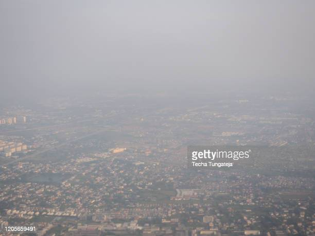 bangkok thailand high view from airplane