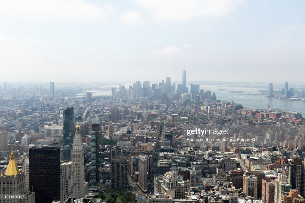 High view of the skyscrapers of Manhattan, New York : ストックフォト
